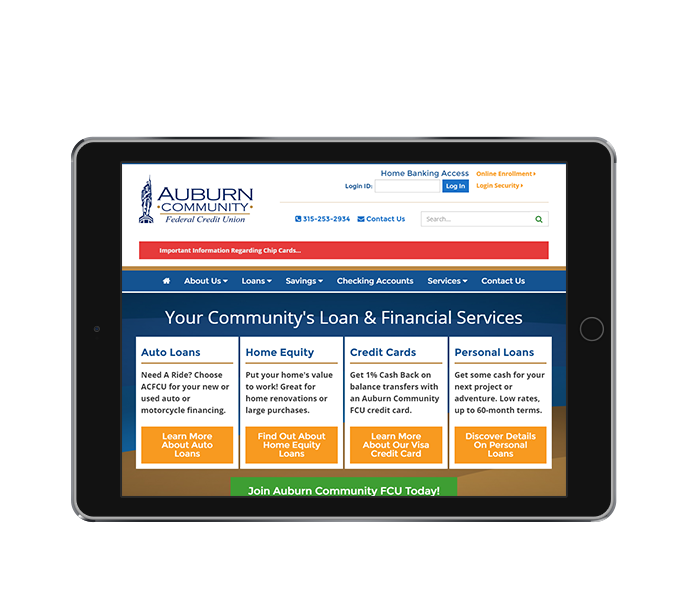 credit union website design tablet landscape view auburn community fcu by acs inc web design and seo