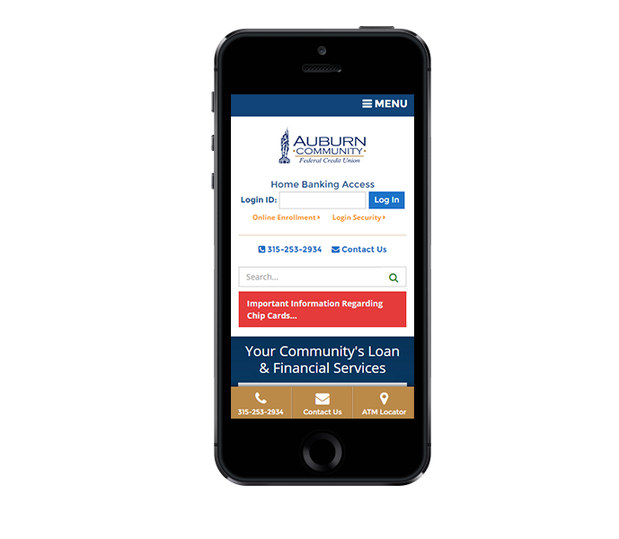 credit union website design mobile phone view of auburn fcu by acs inc web design and seo