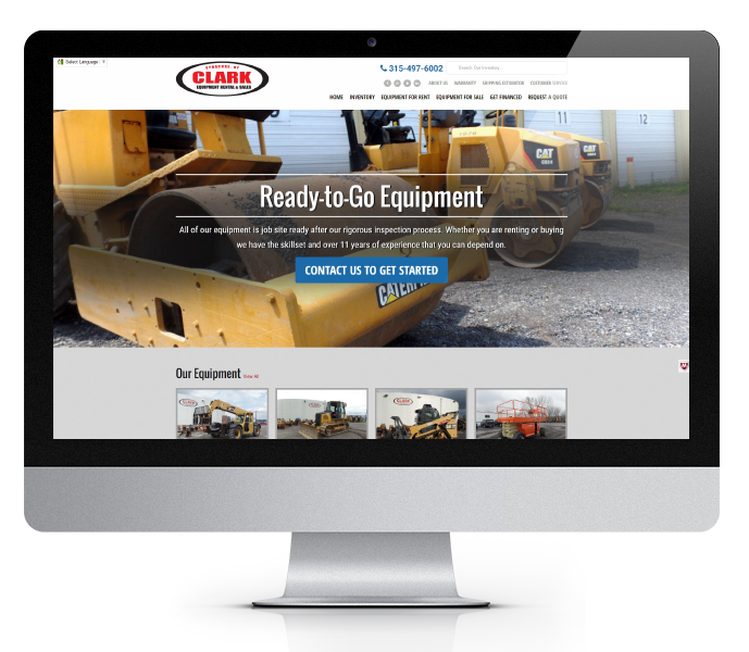 ecommerce website design desktop view of clark equipment by acs inc web design and seo