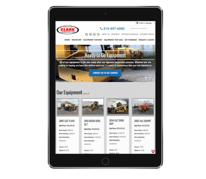 ecommerce web design tablet portrait view of clark equipment from acs inc web design and seo