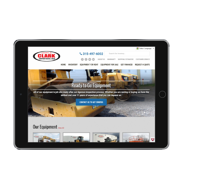 ecommerce web design tablet landscape view of clark equipment from acs inc web design and seo