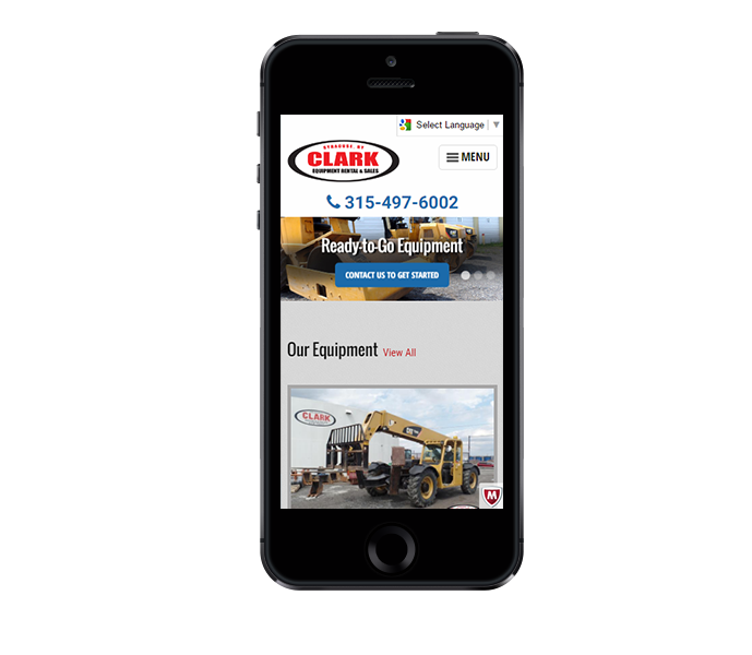 ecommerce website design mobile friendly view for clark equipment from acs inc web design and seo