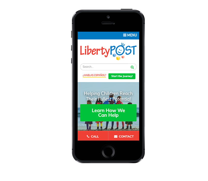 pediatric website design mobile phone view of liberty post from acs inc web design and seo