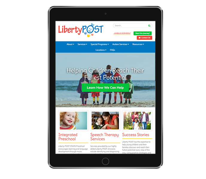 pediatric website design tablet portrait view of liberty post from acs inc web design and seo