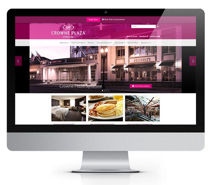 hotel website design desktop view of crowne plaza syracuse by acs inc web design and seo