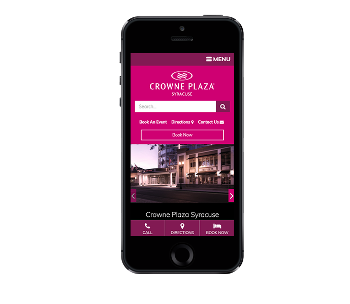 hotel website design mobile friendly phone view of crowne plaza syracuse by acs inc web design and seo