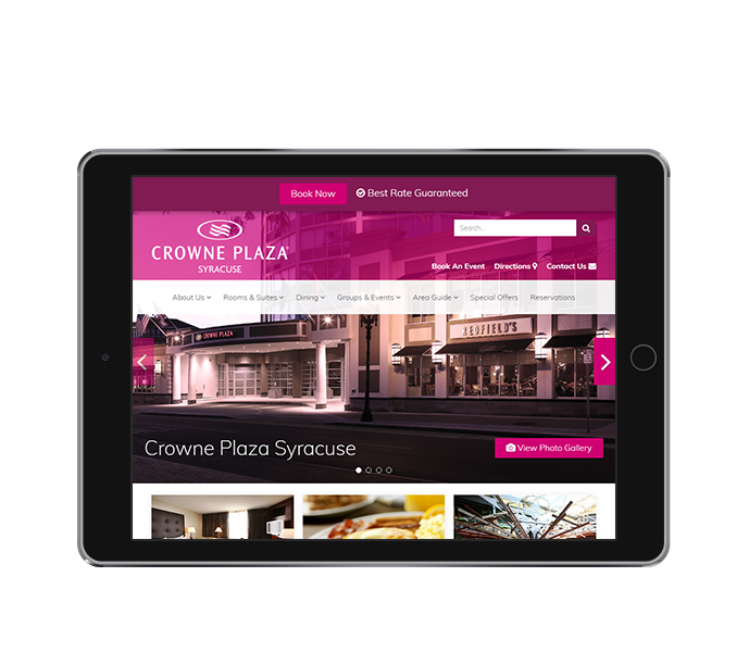 hotel website design tablet landscape view of crowne plaza syracuse by acs inc web design and seo