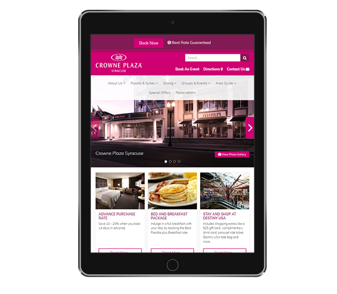 hotel website design tablet portrait view of crowne plaza syracuse by acs inc web design and seo