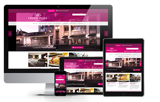 hotel website design responsive web design for crowne plaza syracuse made by acs inc web design and seo