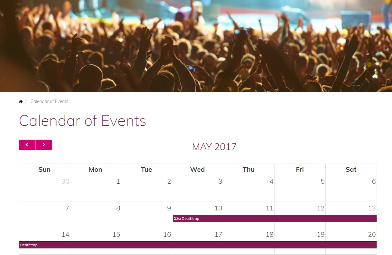 hotel web design calendar of events for crowne plaza syracuse by acs inc web design and seo