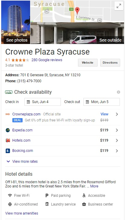 hotel website design seo migration for crowne plaza syracuse by acs inc web design and seo