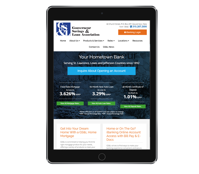 banking website design portrait view of gouverneur savings and loan association by acs inc web design and seo