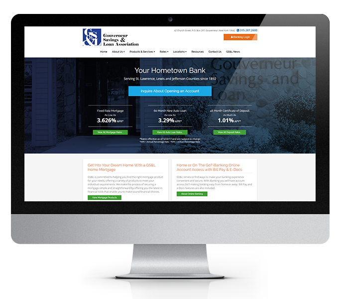 bank web design desktop view of gouverneur savings and loan by acs inc web design and seo