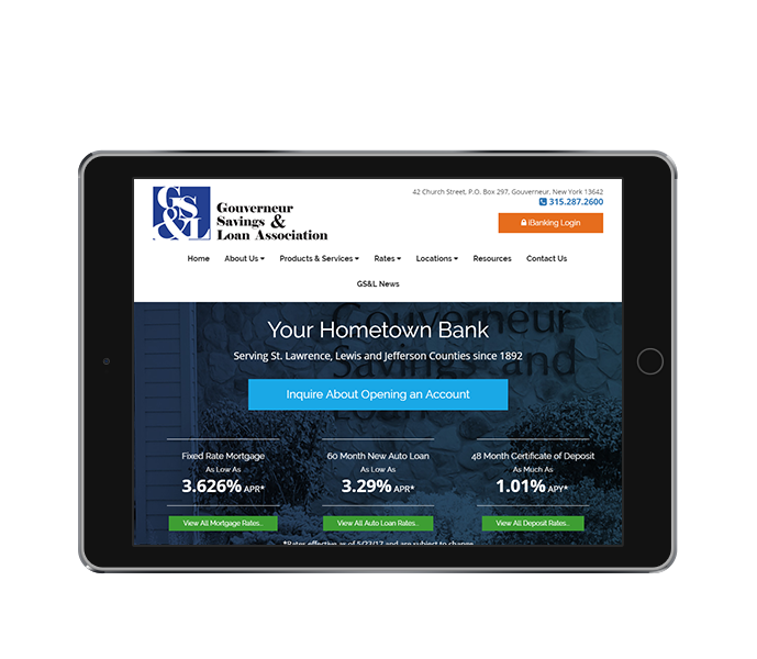 bank web design tablet landscape view of gouverneur savings and loan by acs inc web design and seo