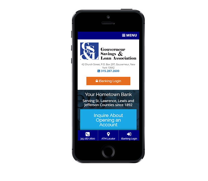 mobile friendly responsive web design and banking web design for gouverneur savings and loan by acs inc web design and seo
