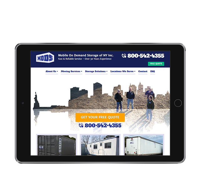 Storage Company Website Design Tablet Landscape View Of Mobile On Demand By Acs Inc Web