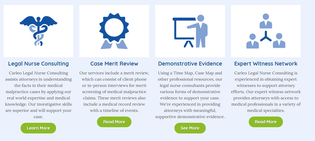 legal website design service highlights for carleo legal nurse consulting by acs inc web design and seo