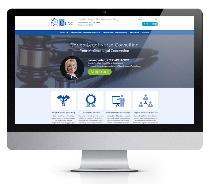 legal website design desktop view for carleo legal nurse consulting by acs inc web design and seo