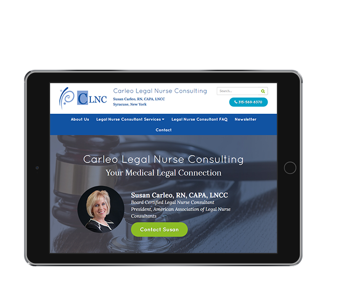 legal website design landscape tablet view of carleo legal nurse consulting by acs inc web design and seo