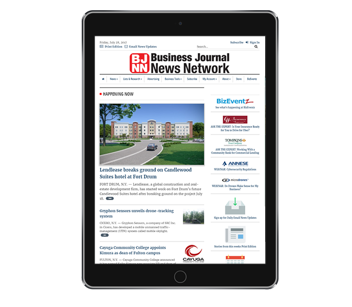 news website design tablet portrait of cny business journal from acs inc web design and seo