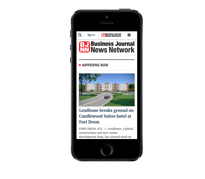 news website design mobile friendly view of cny business journal from acs inc web design and seo