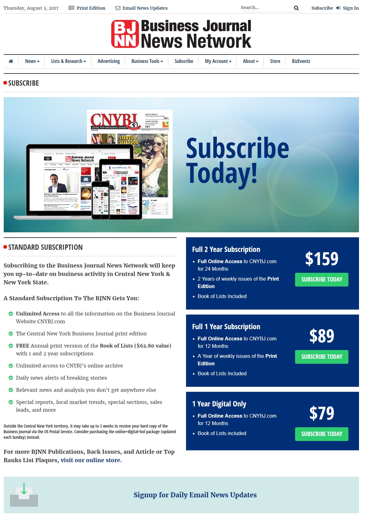 news website design subscription management by acs inc web design and seo