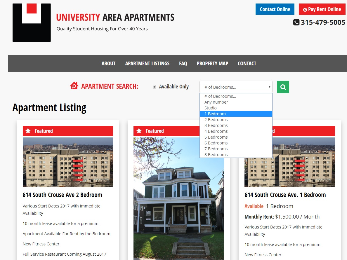 Student apartments website design apartment web design for Apartment web design