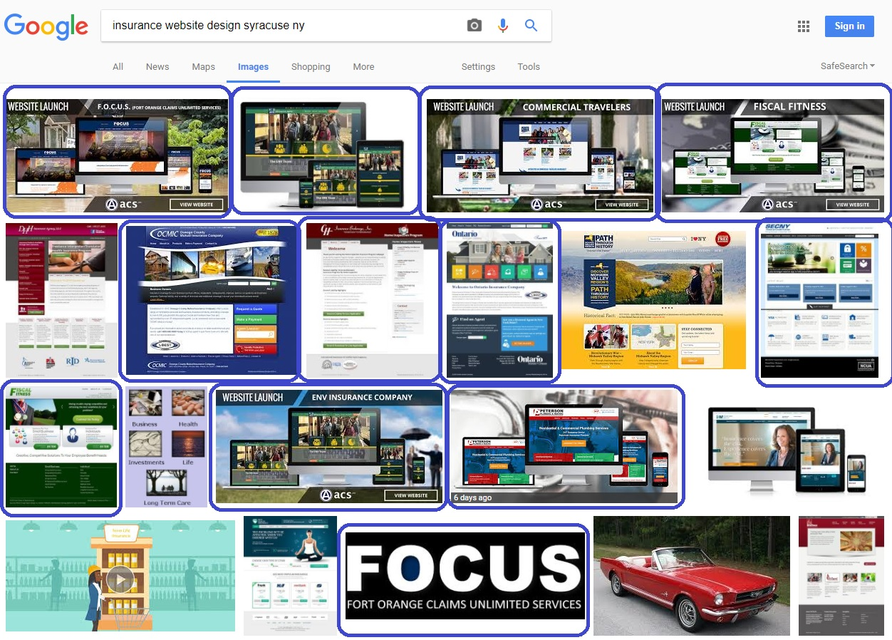 image seo for insurance website design by acs inc web design and seo