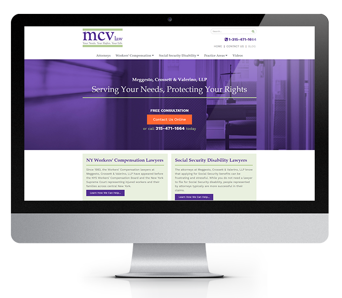 legal website design and law firm web design for mcv law desktop view from acs inc web design and seo
