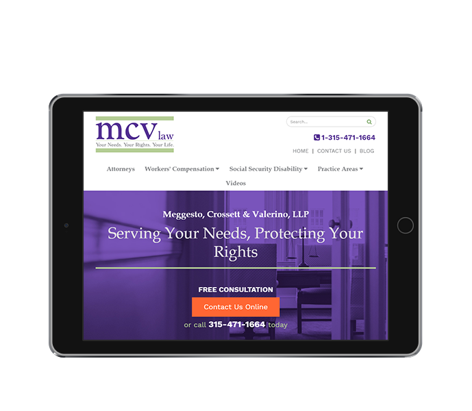 legal website design and law firm web design for mcv law tablet landscape view from acs inc