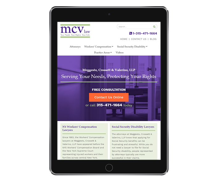 legal website design and law firm web design for mcv law tablet portrait view from acs inc