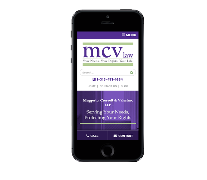legal website design and law firm web design for mcv law mobile view from acs inc