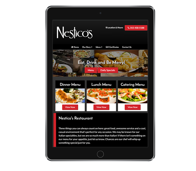 restaurant website design tablet portrait by acs inc web design and seo