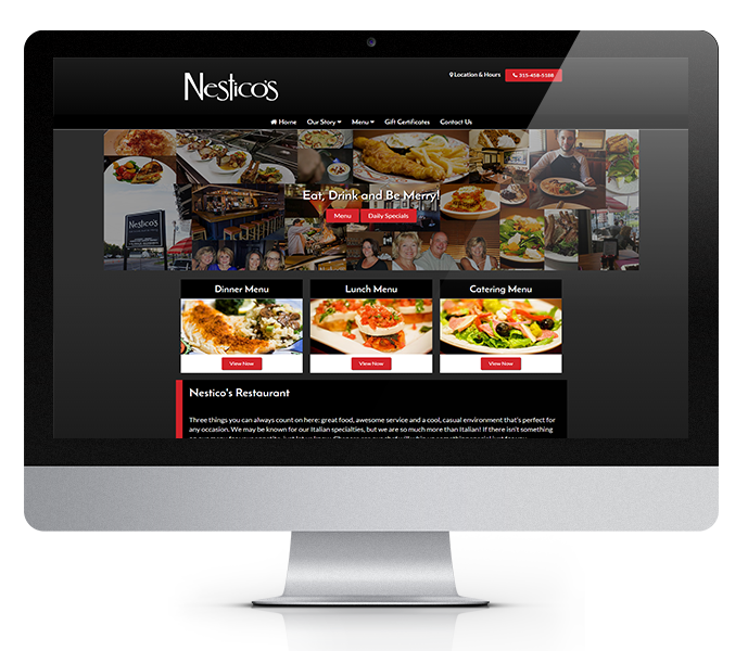 restaurant website design desktop view by acs inc web design and seo