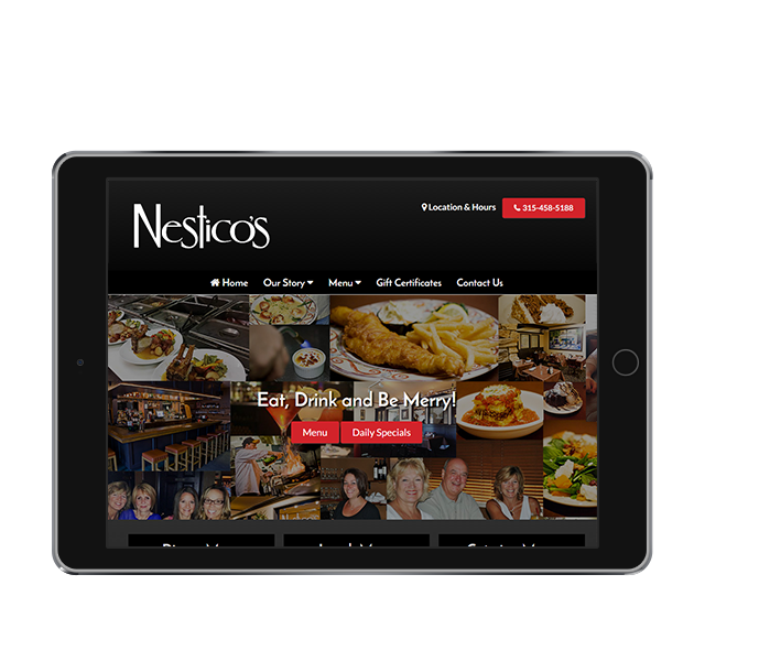 restaurant website design tablet landscape view of nesticos by acs inc web design and seo