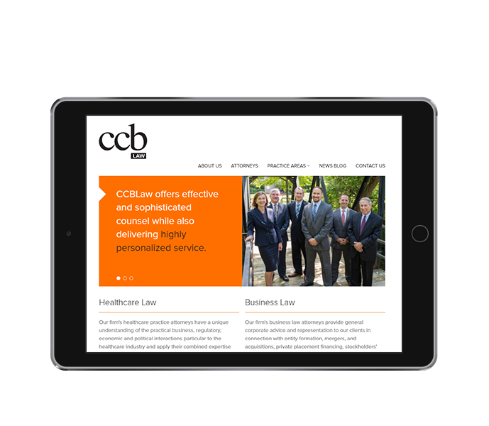 attorney website design tablet landscape view ccb law by acs inc