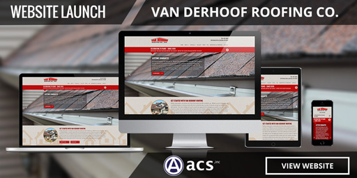 roofing website design portfolio listing van derhoof by acs inc web design and seo