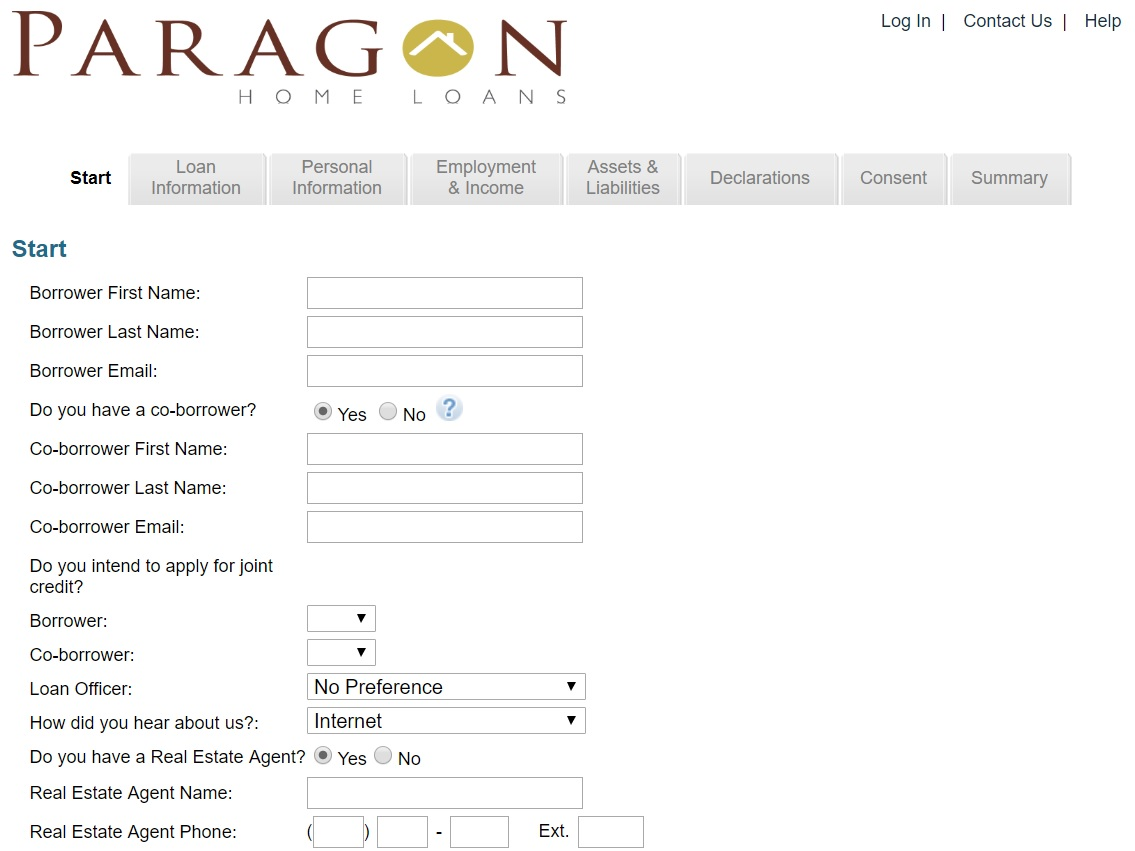 mortgage marketing online application for paragon home loans from acs web design and seo