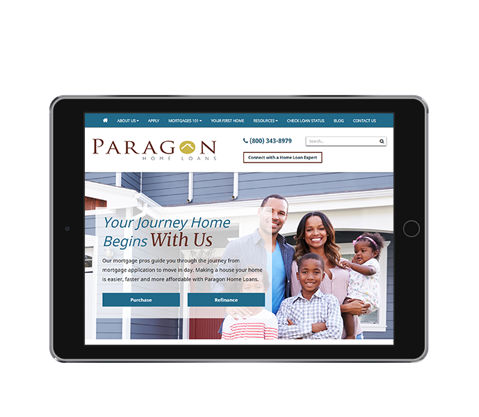 mortgage marketing tablet landscape paragon home loans by acs web design and seo
