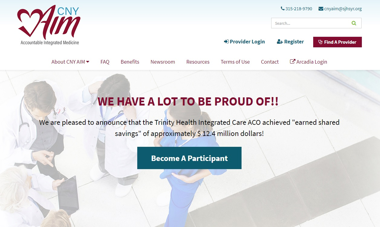 healthcare website design branding for cny aim from acs web design and seo