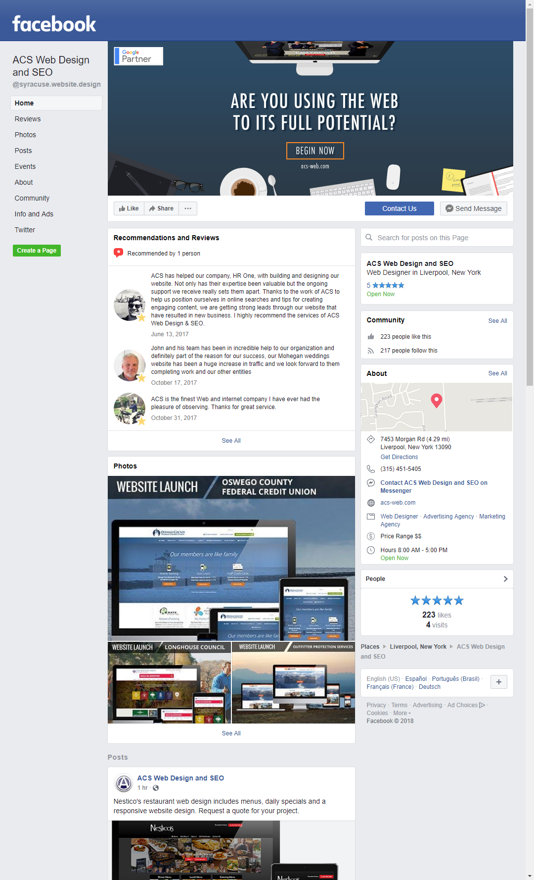 Hire somebody to create your business Facebook page