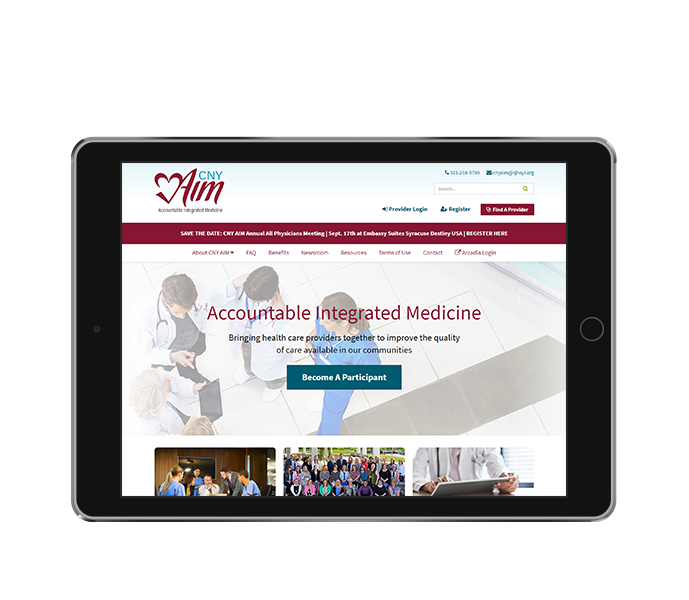 healthcare website design tablet landscape cny aim from acs web design and seo