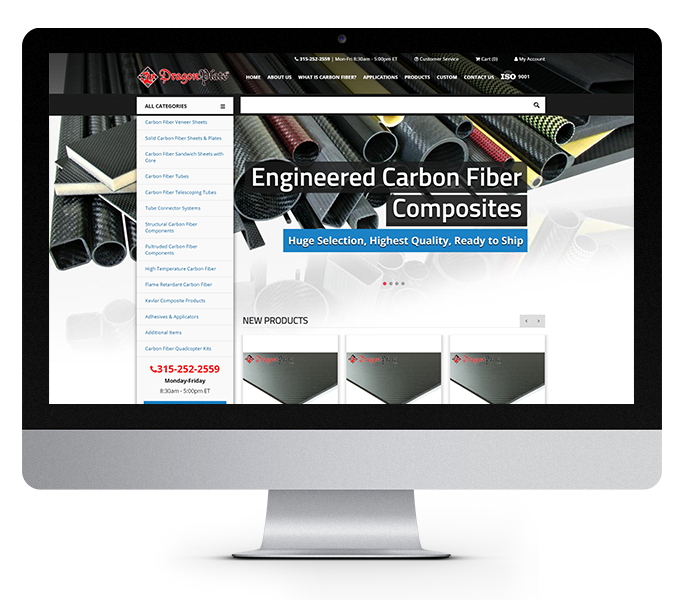 enterprise eCommerce website design dragonplate desktop view from acs web design and seo