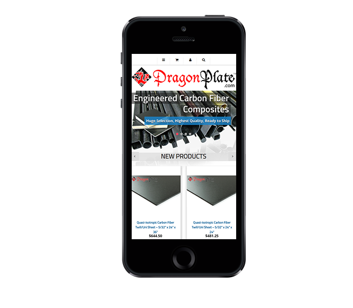 enterprise eCommerce website design dragonplate mobile friendly phone from acs web design and seo
