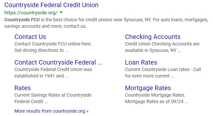 credit union web design seo migration for countryside fcu from acs web design and seo