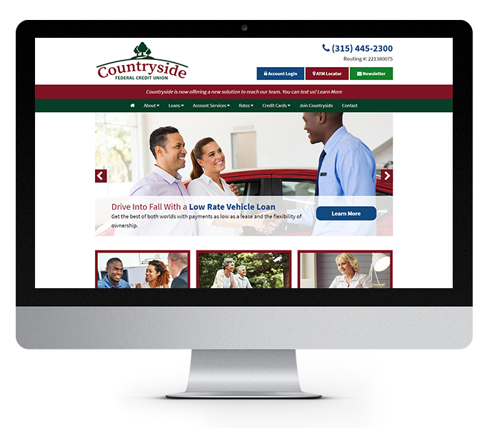 credit union web design desktop countryside fcu from acs web design and seo