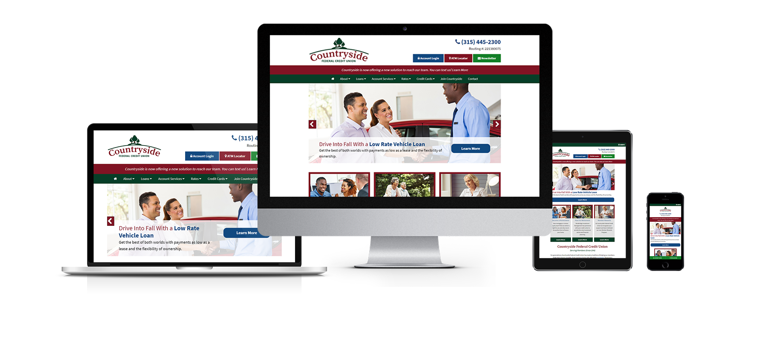credit union web design responsive website design countryside fcu from acs web design and seo