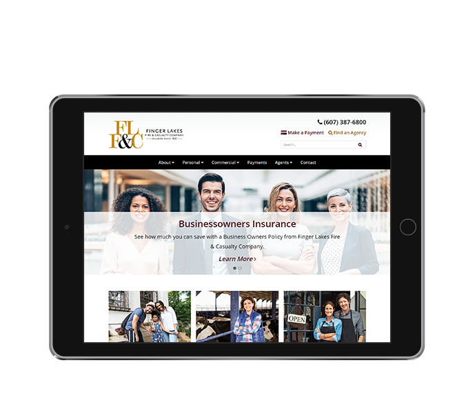 insurance website design finger lakes fire and casualty tablet landscape from acs