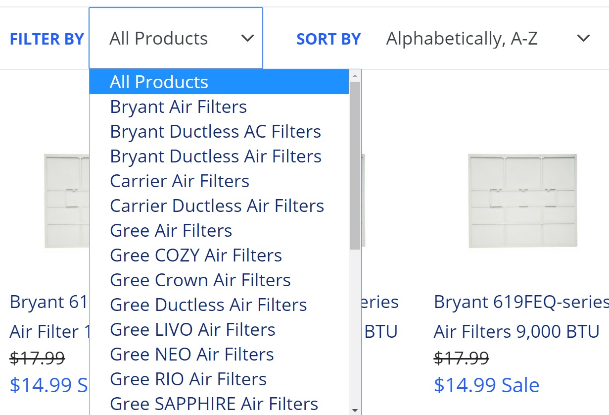 ecommerce website design product filters for genuine air filters by acs web design and seo