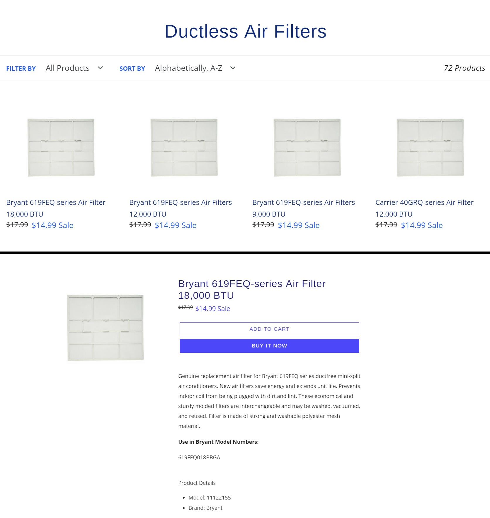 ecommerce website design product categories and product detail pages for genuine air filters from acs web design and seo